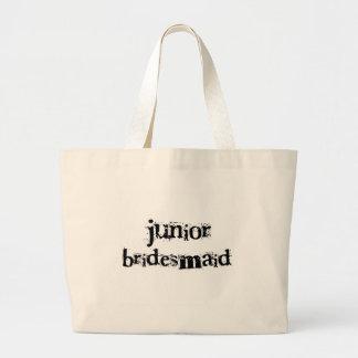 Jr. Bridesmaid Black Text Large Tote Bag