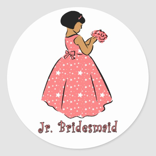 Jr Bridesmaid in Coral Classic Round Sticker