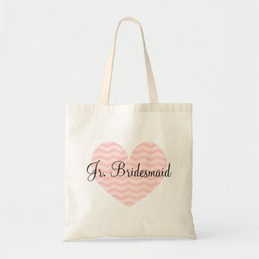 Valentines Themed Jr Bridesmaid pink heart chevron pattern tote bag