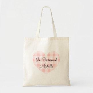 Jr bridesmaid pink heart gingham pattern tote bag
