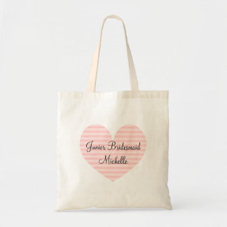Jr Bridesmaid pink striped heart design tote bag