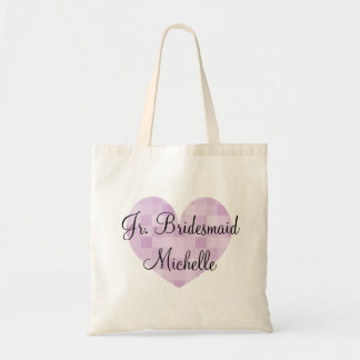 Jr Bridesmaid purple mosaic tile heart tote bag