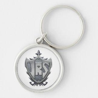 JRS: Keychain, White Background Silver-Colored Round Keychain