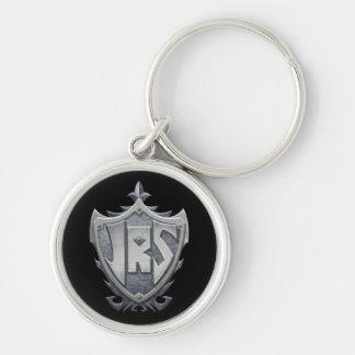 JRS: Premium Round Keychain, Black Background Silver-Colored Round Keychain
