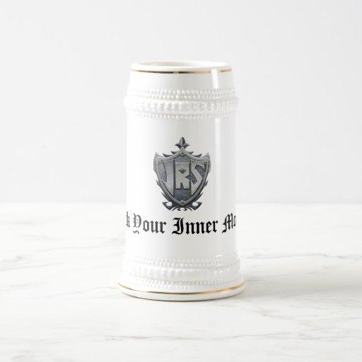 JRS: White/Gold Stein, 'Spank Your Inner Monkey' Coffee Mug