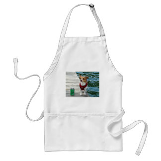 JRT in Red Vest on Boat Dock Adult Apron