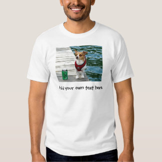 JRT in Red Vest on Boat Dock Tees