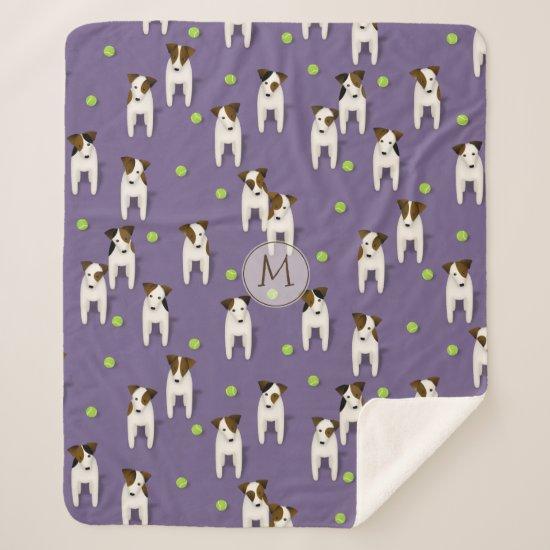 JRT PRT Terriers dogs tennis balls pattern purple Sherpa Blanket