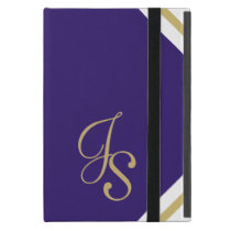 JS Monogrammed Indigo and Gold iPad Mini Case