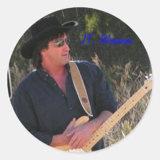 jtpromoshotcutsize, JT, Bluesman Pegatina Redonda