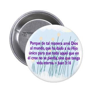 Juan 3:16 pinback buttons