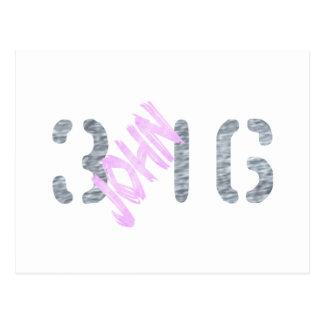 Juan 3,16 Gris color de rosa Postal