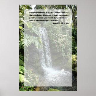 Juan 4:13 con Cascada Posters