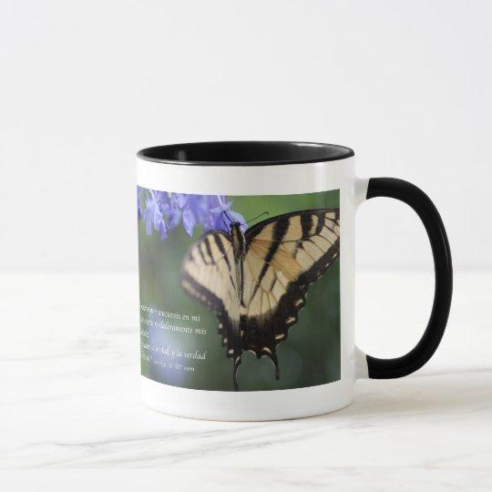 Juan 8 con Mariposa Tiger Swallowtail Tazon Mug