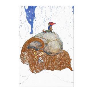 Juan Bauer el escandinavo de la cabra del navidad Impresión En Lona Estirada