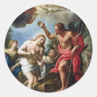 Juan--Bautista-bautizar-Cristo-por-Trevisani Pegatina Redonda