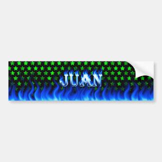 Juan blue fire and flames bumper sticker design. car bumper sticker