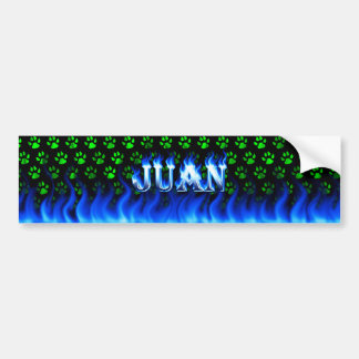 Juan blue fire and flames bumper sticker design.