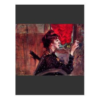 Juan Boldini - la cortina roja Postal