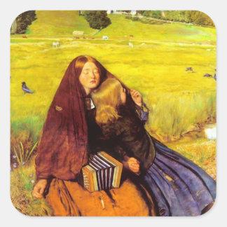 Juan Everett Millais- el chica ciego Calcomanías Cuadradas Personalizadas