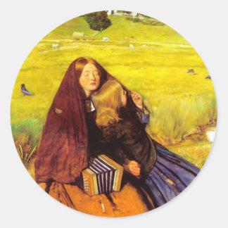 Juan Everett Millais- el chica ciego Etiquetas Redondas