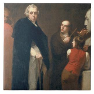 Juan Flaxman (1755-1826) que modela su busto de la Azulejo Cuadrado Grande