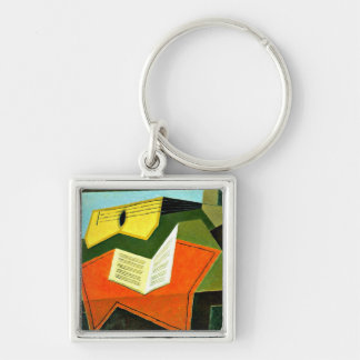 Juan Gris art: Guitar and Music Paper painting Key Chain