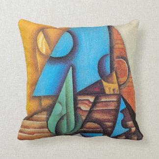 Juan Gris - botella y vidrio en un arte abstracto Cojín