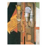 Juan Gris - Glasses newspaper and wine bottle Postcard