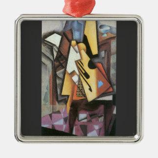 Juan Gris - Guitar and stool Square Metal Christmas Ornament