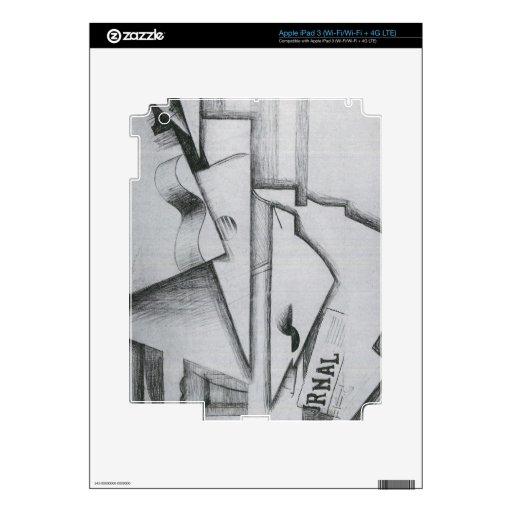 Juan Gris - guitarra y periódico en una tabla Pegatinas Skins Para iPad 3