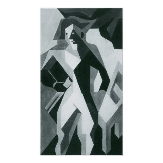 Juan Gris - Harlequan con el taburete Poster