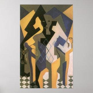 Juan Gris - Harlequin con la tabla Poster