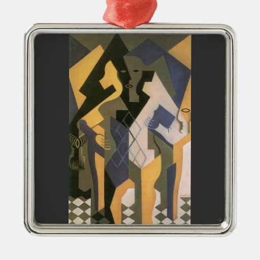 Juan Gris - Harlequin with table Square Metal Christmas Ornament