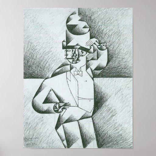 Juan Gris - hombre en café Poster