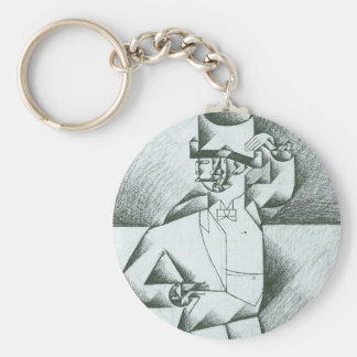 Juan Gris - Man in Cafe Keychain