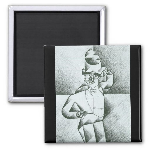 Juan Gris - Man in Cafe Fridge Magnets