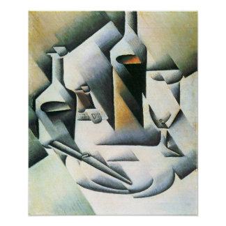 Juan Gris - Still Life with bottles and knives Poster