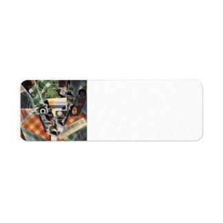 Juan Gris- Still Life with Checked Tablecloth Custom Return Address Label