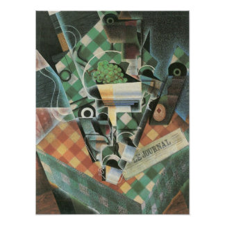 Juan Gris - Still Life with checked tablecloth Print