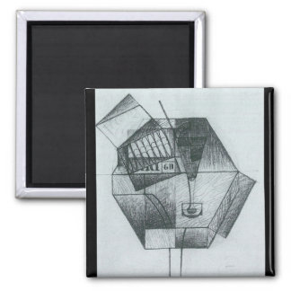 Juan Gris - Still Life with cigar box 2 Inch Square Magnet