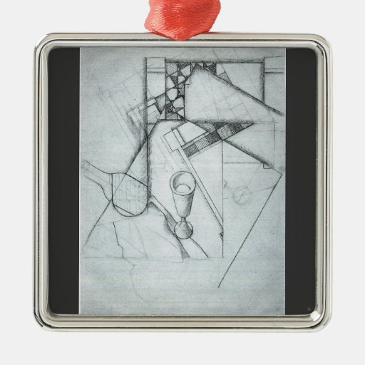 Juan Gris - Still Life with glass and board game Square Metal Christmas Ornament