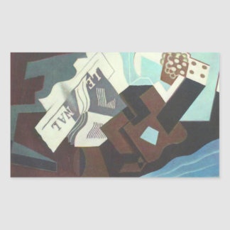 Juan Gris - Still Life with guitar book and newspa Rectangular Sticker