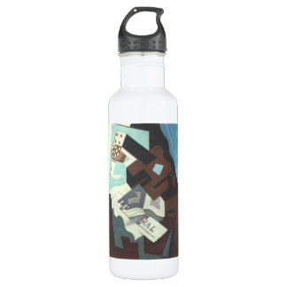 Juan Gris - Still Life with guitar book and newspa Stainless Steel Water Bottle