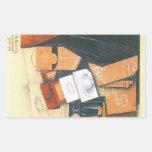 Juan Gris - taza y vidrio de la amoladora de café Rectangular Pegatinas