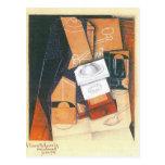 Juan Gris - taza y vidrio de la amoladora de café  Postal