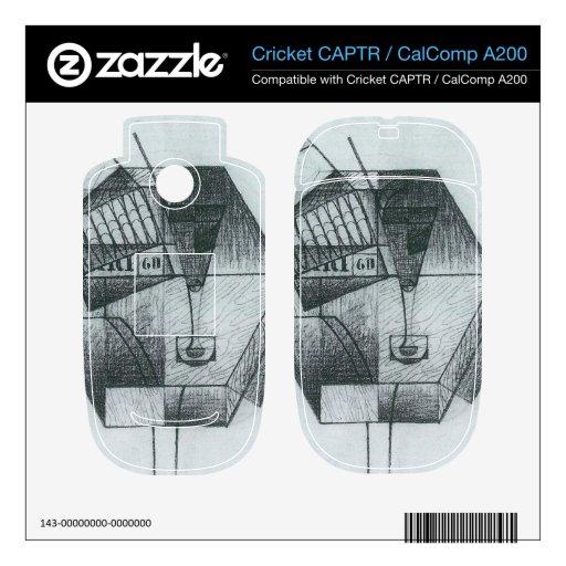 Juan Gris - todavía vida con la caja de cigarros Cricket CAPTR Calcomanía