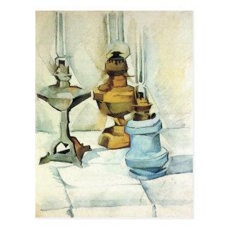 Juan Gris - todavía vida con tres lámparas Postal