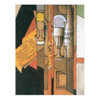 Juan Gris - vidrios periódico y botella de vino Postales