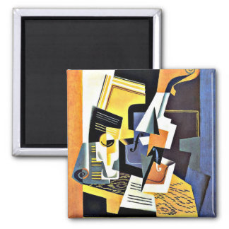Juan Gris: Violin and Glass 2 Inch Square Magnet